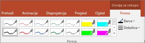 Prikazuje možnosti »Slog peresa« v Officeu