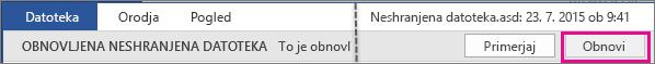 Možnost »Odpri neshranjeno datoteko« v programu Office 2016