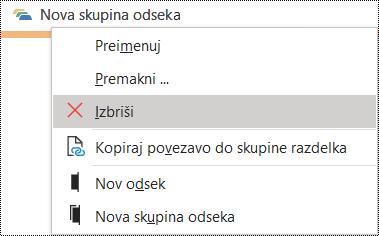 Brisanje skupine odsekov v pogovornem oknu programa OneNote za Windows