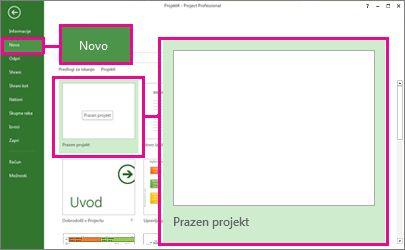 Ustvarite novo sliko gumba praznega projekta