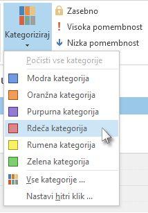 Izbira kategorije na seznamu kategorij na traku