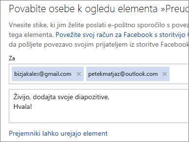 Vnos e-poštnih naslovov in sporočila za e-poštno pošiljanje povezave