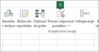 Potrdite spustni seznam tako, da v Excelu kliknete »Podatki« > »Preveri veljavnost podatkov«