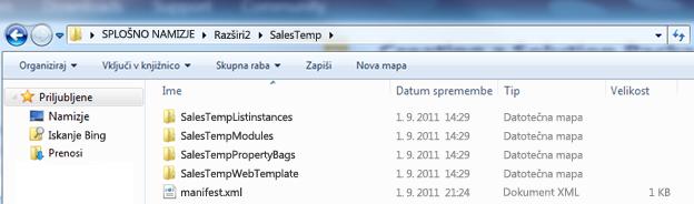 Posnetek zaslona Windows Explorerja, ki prikazuje nerazširjeno datoteko .wsp (Web Solution Package).