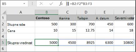 Primer matrične formule, ki izračuna več rezultatov