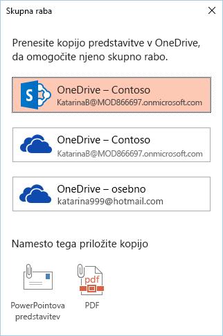 Če še niste shranili svojo predstavitev v OneDrive ali SharePoint, boste pozvani, da to storite.