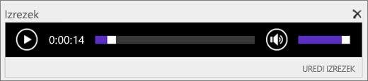 Posnetek zaslona storitve SharePoint Online z vrstico za nadzor zvoka za izrezek, kjer je prikazan skupen čas trajanja zvočne datoteke; na voljo je tudi kontrolnik za začetek in zaustavitev predvajanja datoteke.