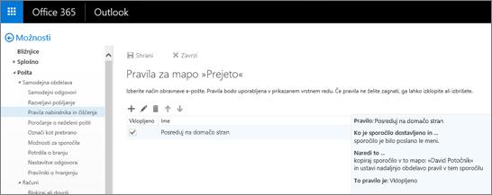 Prikazano je območje s pravili za mapo »Prejeto« in možnost pravil za čiščenje v možnostih za Pošto v storitvi Office 365. Pravila za mapo »Prejeto« lahko ustvarite, uredite ali izbrišete, da urejate svoja e-poštna sporočila.