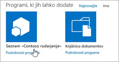 Pogovorno okno »Aplikacije, ki jih lahko dodate« z označeno aplikacijo