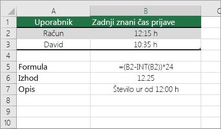 Primer: Pretvarjanje ur iz standardne oblike zapisa ure v decimalno število