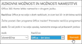 Posnetek zaslona, na katerem so prikazane možnosti jezika in različice ter gumb »Namesti«