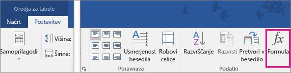 Na zavihku »Orodja za tabele – Postavitev« je označena funkcija »Formula«.