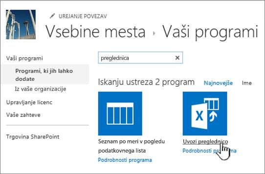 Označena aplikacije za uvoz preglednice v pogovornem oknu novih aplikacij
