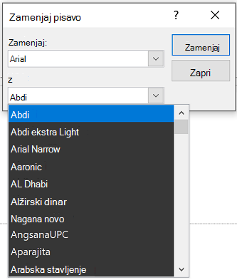Slika pogovornega okna» Zamenjaj pisavo za PowerPoint «. Polje s spustnim seznamom je razširjeno.
