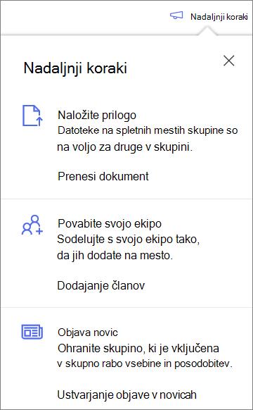 Podokno» naslednji koraki «po ustvarjanju nove knjižnice v skupni rabi v storitvi OneDrive za podjetja