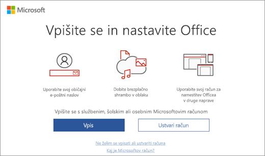 Prikazuje stran »Vpišite se in nastavite Office«, ki se morda prikaže po namestitvi Officea