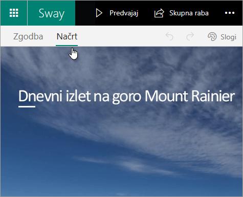 Zavihek »Sway – Načrt«.