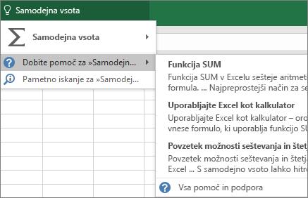 Iskanje pomoči v Excelu