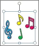 Ročica za vrtenje grafiko in polja z besedilom