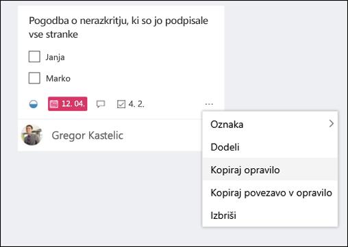 Posnetek zaslona: prikazuje meni več odpiranje iz opravila v načrtovalnik table.