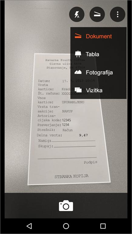 Posnetek zaslona z navodili za zajem slike v programu Office Lens za Android.