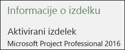 Informacije o izdelku – Project Professional 2016