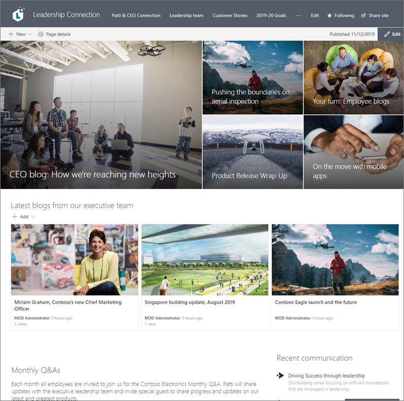 Primer spletnega mesta za komunikacijo, namenjenega spletnim dnevnikom