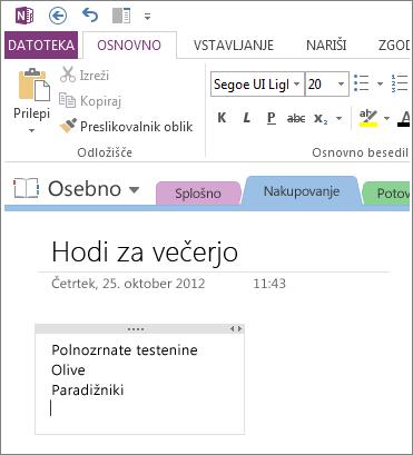 Kliknite kjer koli na strani in začnite vnašati zapiske v OneNotu.