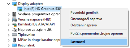 Odprite upravitelja naprav sistema Windows, da upravljate gonilnike grafične kartice.