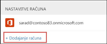 Dodajanje računa v Outlooku