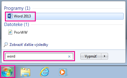 Iskanje Officeovih programov v sistemu Windows 7