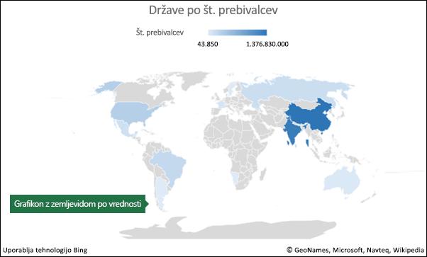 Excelov grafikon z zemljevidom s podatki o vrednosti
