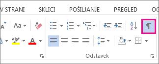 Ukaz »Prikaži/skrij« na zavihku »Osnovno« v programu Word 2013.