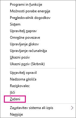 Ukaz »Zaženi«, ko z desno tipko miške kliknete gumb »Začetek« v sistemih Windows 8 in Windows 10