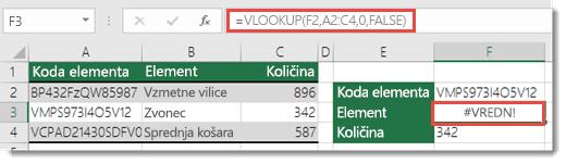 Napaka #VALUE! se prikaže, ko je argument col_index_argument manj od 1