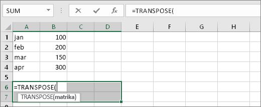 =TRANSPOSE(