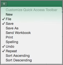 Meni za prilagajanje orodne vrstice za hitri dostop v Office2016 za Mac