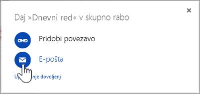 Posnetek zaslona, na katerem je izbrana možnost »E-pošta« v pogovornem oknu »Skupna raba« v storitvi OneDrive