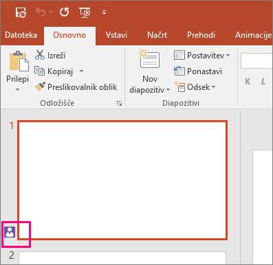 Prikaže ikono, ki označuje, da nekdo drug dela z diapozitivom v programu PowerPoint 2016