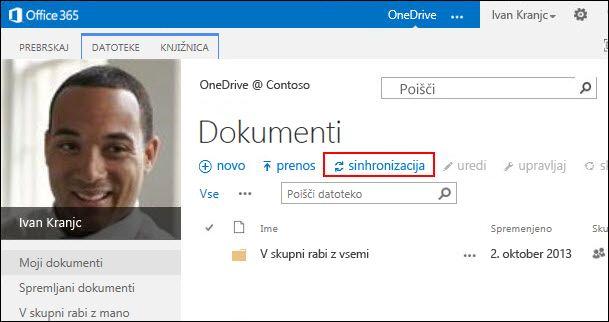 Knjižnica storitve OneDrive za podjetja v storitvi Office 365