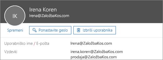 Ta uporabnik ima primarni naslov in dva vzdevka.