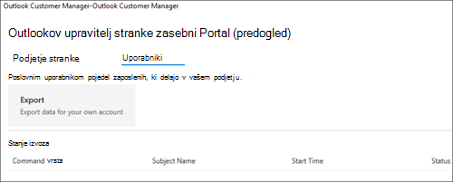 Screnshot: izvoz podatkov zaposlenih za Outlook Customer Manager