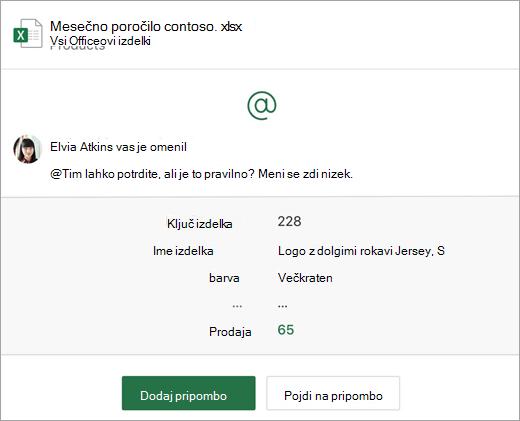 Posnetek zaslona e-poštnega obvestila o pripombah