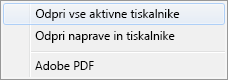 Izberite »Odpri vse aktivne tiskalnike«.