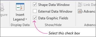 Potrditveno polje »Polja grafičnega elementa s podatki« na zavihku »Podatki«
