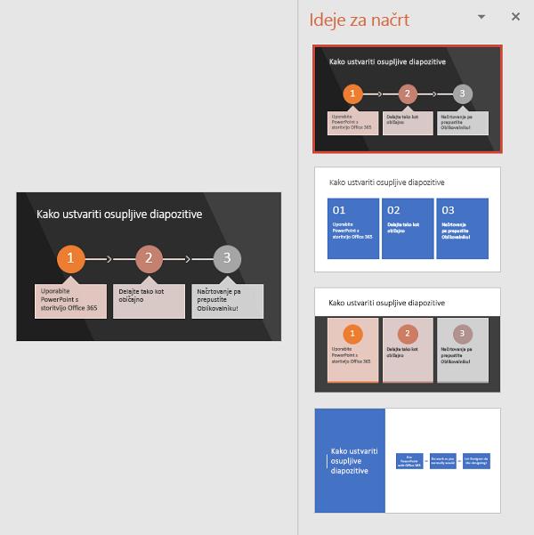 Oblikovalnik predlaga načine za spremembo besedila v preprosto berljivo grafiko SmartArt.