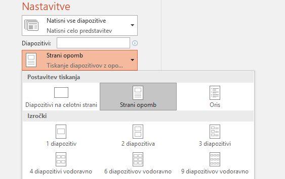 posnetek zaslona možnosti tiskanja opomb