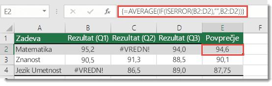 Funkcija array v POVPREČJU, da razrešite #VALUE! Napaka