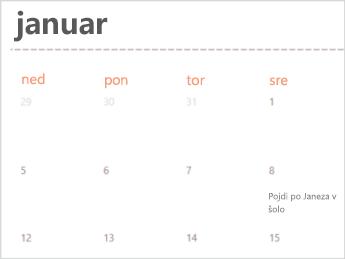 Predloga koledarja v programu Excel Online