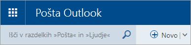 Posnetek zaslona zgornjega levega kota klasičnega nabiralnika v storitvi Outlook.com